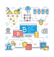 blockchain and internet cryptocurrency transaction vector image vector image