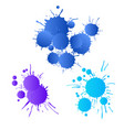 blue navy purple watercolor paint drops vector image