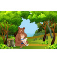 boy and bear in the forest vector image