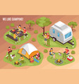 camping barbecue isometric set vector image vector image