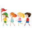 children walking in line vector image