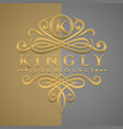 classic luxurious letter k logo with embossed vector image vector image