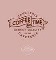 coffee time logo ribbon letters cafeteria label vector image