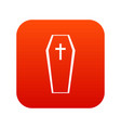 coffin icon digital red vector image vector image