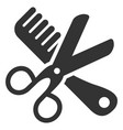 comb and scissors tools flat icon vector image