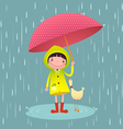 Cute girl and friends with red umbrella in rainy vector image vector image
