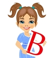 cute little girl holding the b letter vector image vector image