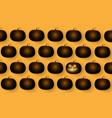 dark cute halloween pumpkins isolated on orange vector image vector image
