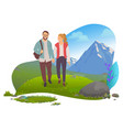 date in mountains couple hiking man and woman vector image vector image