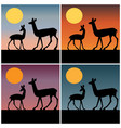 deer silhouette with gradient sunset backgrounds vector image vector image
