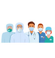 doctors and nurses in protective suits vector image