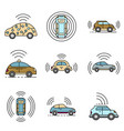 driverless car icons set line color vector image vector image