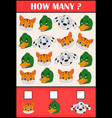 education counting game of animals for preschool vector image