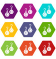emerald earrings icons set 9 vector image