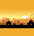 flat amusement park at sunset scenery vector image vector image
