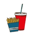 french fries and soda drink vector image vector image