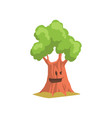 funny humanized tree with cheerful face expression vector image vector image