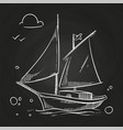 hand sketched boat on blackboard white vector image vector image