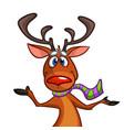 happy cartoon christmas rudolph reindeer vector image vector image