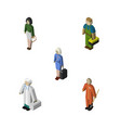 isometric person set of cleaner pedagogue vector image vector image