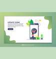 landing page template update done modern flat vector image vector image