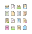 linear document icons set isolated on white vector image vector image