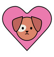 little dog adorable mascot head in heart vector image