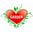 logo red heart for the garden vector image