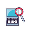 magnifying glass with laptop computer vector image vector image