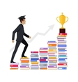 Male Young Businessman Going Upstairs on Books vector image vector image