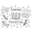 mardi gras fat tuesday collection icons vector image vector image