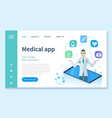 medical app with doctors services online web vector image vector image