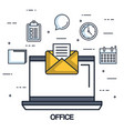 office laptop email message note work vector image