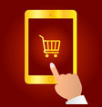 online shopping concept finger touches tablet vector image vector image