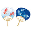 paper fans with japanese traditional patterns vector image vector image