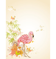 pink flamingo and butterflies vector image vector image