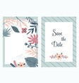 save the date banners invitations with foliage vector image