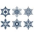 Set of 6 blue snowflakes vector image vector image
