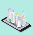 social media smart city isometric urban modern vector image