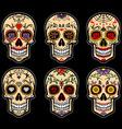sugar skull day dead set vector image