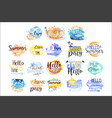 summer vacation promo signs colorful set vector image