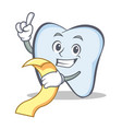 tooth character cartoon style with menu vector image vector image