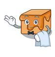 waiter caramel candies mascot cartoon vector image vector image