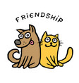 friendship dog kik and cat tik best friends vector image