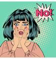 Shocked Woman Bubble Expression No Pop Art vector image