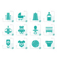 stylized child baby and baby online shop icons vector image