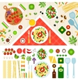 Tasty pasta served on the table vector image