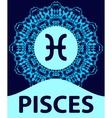 Pisces Fish Zodiac icon with mandala print vector image