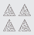 a set of triangular labyrinths for children a vector image vector image