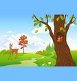 autumn woodland scenery with animals vector image